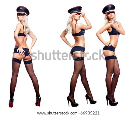 Young attractive woman in three different poses over the white background - stock photo