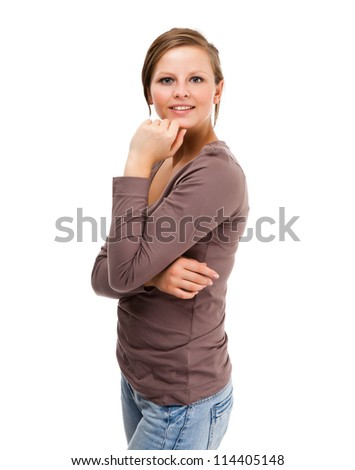 Young attractive woman isolated on white background - stock photo