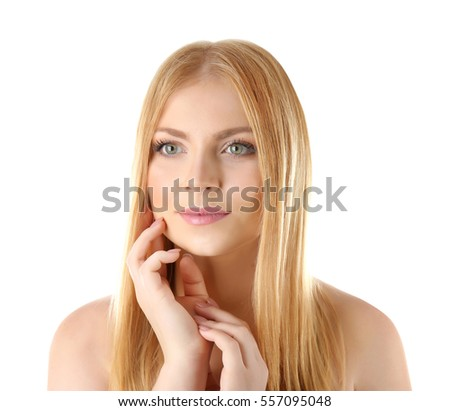 Young attractive woman on white background