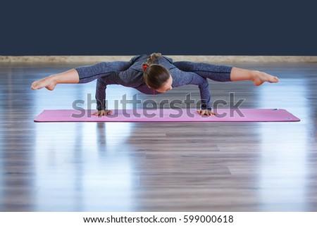 girl gymnast pike jump on trampoline stock photo 497437