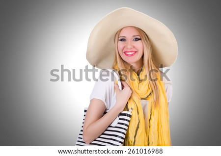 Young attractive woman ready for summer vacation - stock photo