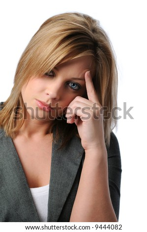 Young attractive woman stressed with hand on face