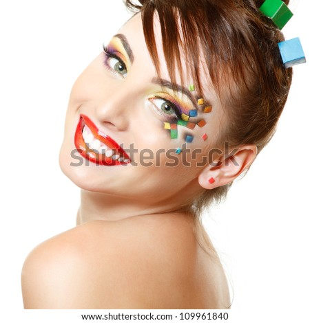 young attractive woman with beautiful art cube abstract make-up isolated on white background - stock photo