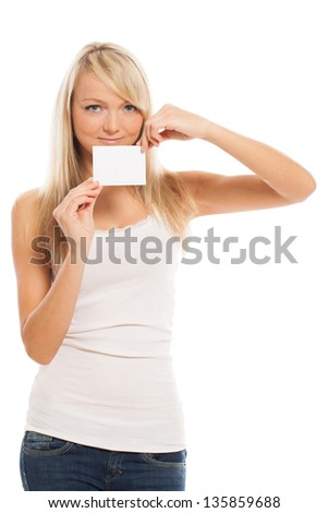Young attractive woman with empty card isolated over white background
