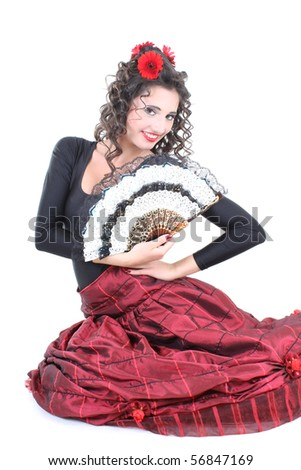 young attractive woman with fan sitting