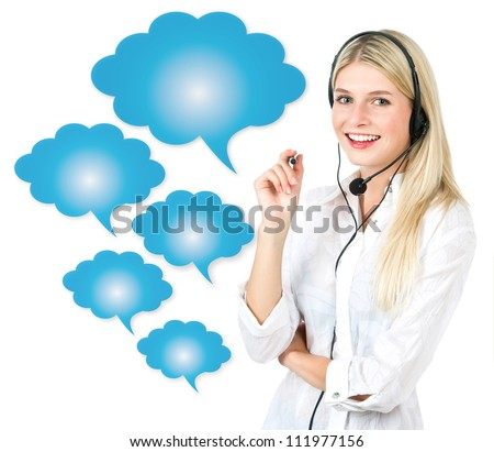 young attractive woman with speech cloud bubbles. communication concept