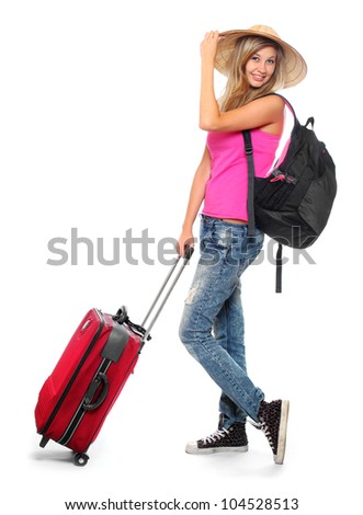 Young backpacker girl going to holidays.
