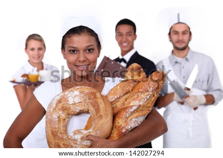 young bakery sales girl and staff of food and catering industry - stock photo
