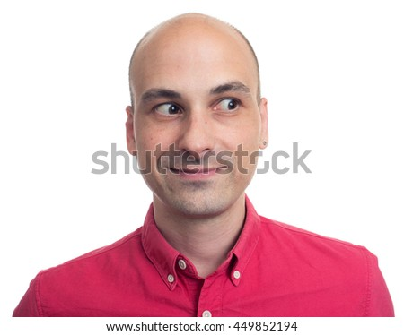 young bald man looking away isolated on white background