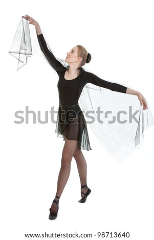 Young ballerina in black costume - stock photo