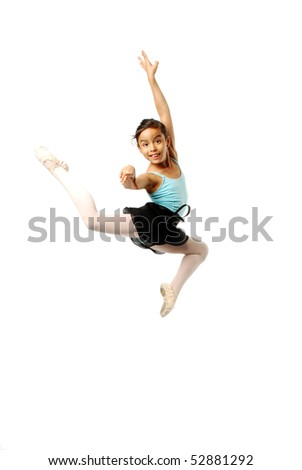 Young Ballerina leaping on white background