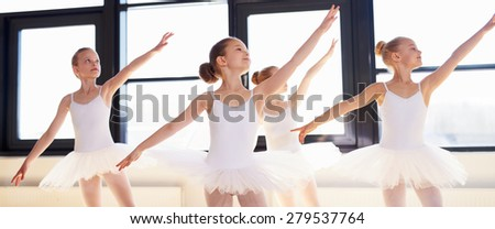 Young ballerinas practicing a choreographed dance all raining their arms in graceful unison during practice at a ballet school - stock photo