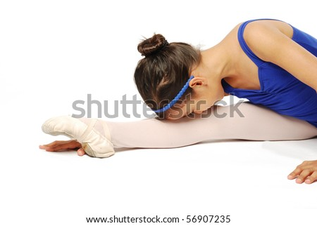 Young Ballet Dancer Stretching on White Background