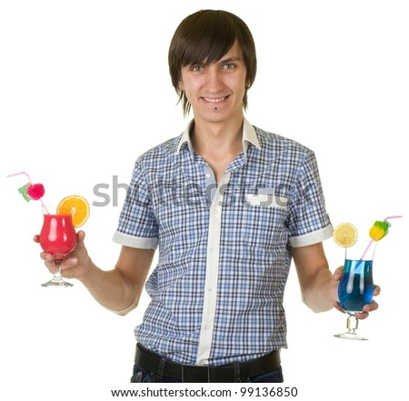 Young bartender portrait isolated with alcohol cocktail drink - stock photo