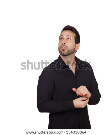 Young bearded businessman buttoning his shirt button isolated on white background - stock photo