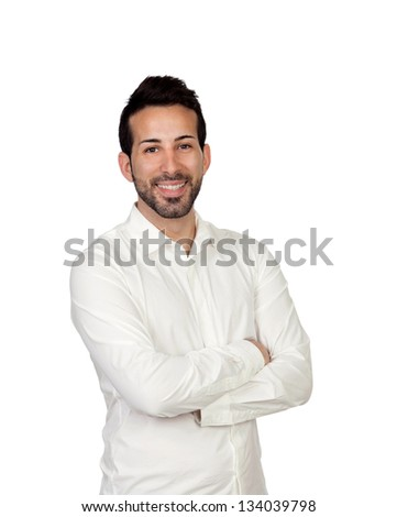 Young bearded businessman isolated on white background - stock photo