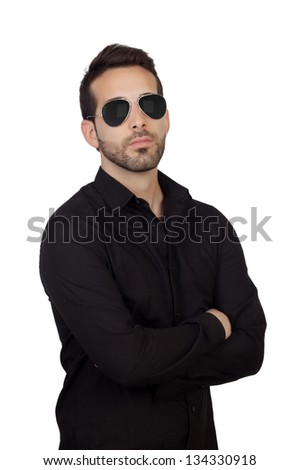 Young bearded businessman with sunglasses isolated on white background - stock photo