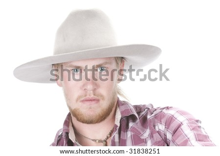 young bearded cowboy with grey hat on, isolated on white background