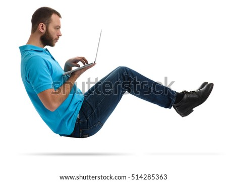 young bearded hipster man with laptop in the air. isolated on white. Concept communication.