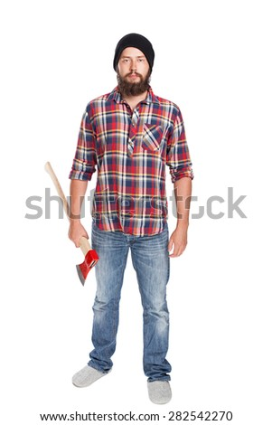 young bearded lumberjack posing with ax front view