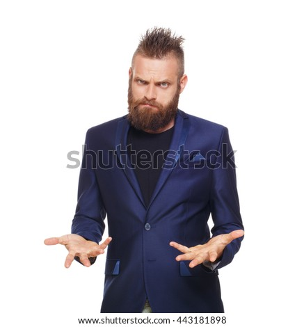 Young bearded man isolated at white background. Portrait of guy with beard disappointed, upset, frustrated, annoyed, looking at camera. - stock photo