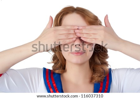 Young beauiful woman covering her eyes. Isolated on white - stock photo