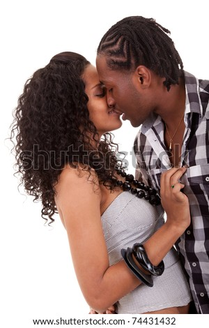 Young  beautiful African American couple kissing - stock photo