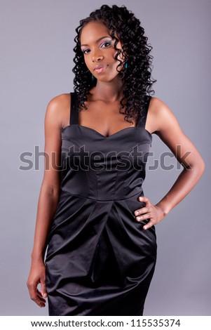 Young beautiful African american woman posing - stock photo