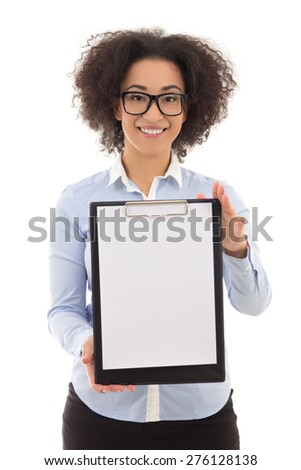 young beautiful african american woman showing clipboard with copy space isolated on white background - stock photo