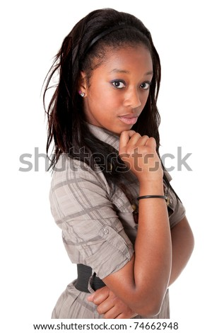 Young beautiful  african american woman thinking - stock photo