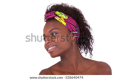 Young beautiful african woman portrait, Isolated over white background - stock photo