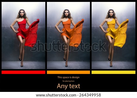 Young, beautiful and graceful woman in a blowing fashion dress. Different  versions. Warm color  concept. - stock photo