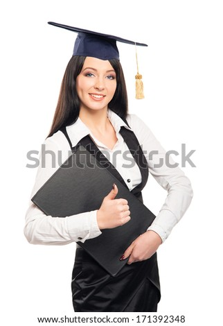 Young, beautiful and happy graduate girl holding degree diploma and smiling isolated on white