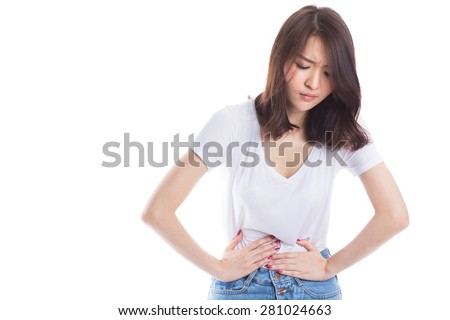 Young beautiful asian woman having painful stomachache on white background