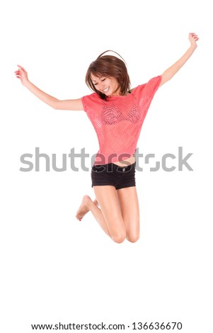 Young beautiful asian woman jumping of joy, isolated on white background - Asian people