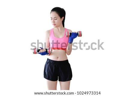 Young beautiful asian woman with dumbbells isolated on white background.