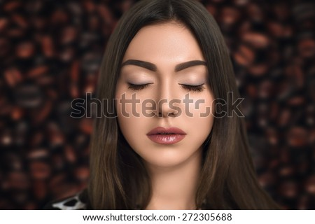 Young beautiful, attractive, dreamy, sleeping, girl, woman, lady, model, bride. Ideal natural, everyday makeup, clean, healthy skin of the face, expressive eyebrows, eyes, lips soft beige.Chic style.  - stock photo