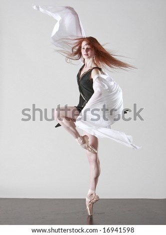 Young Beautiful Ballerina On Pointe