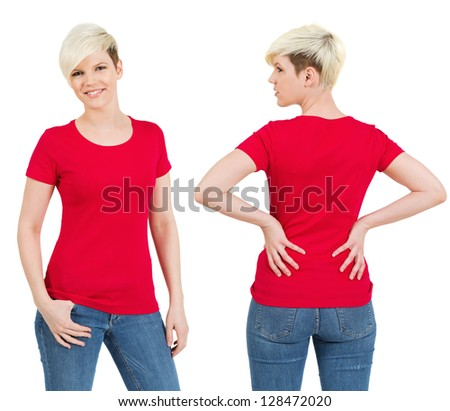 Young beautiful blond female with blank red shirt, front and back. Ready for your design or artwork. - stock photo