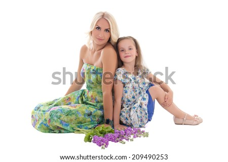 young beautiful blond with daughter isolated on white background