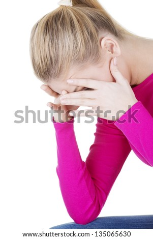 Young beautiful blond woman in depression. - stock photo