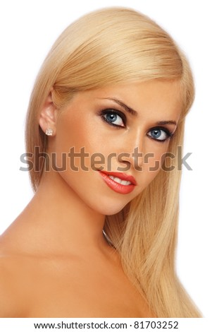 Young beautiful blond woman with stylish make-up, on white background - stock photo