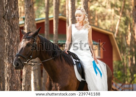 young beautiful bride and horse on the nature