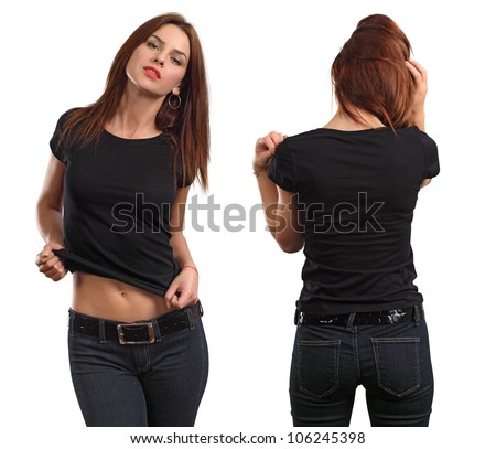 Young beautiful brunette female with blank black shirt, front and back. Ready for your design or artwork.