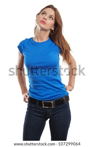Young beautiful brunette female with blank blue shirt. Ready for your design or artwork.