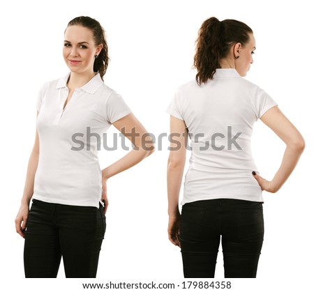 Young beautiful brunette female with blank white polo shirt, front and back. Ready for your design or artwork. - stock photo
