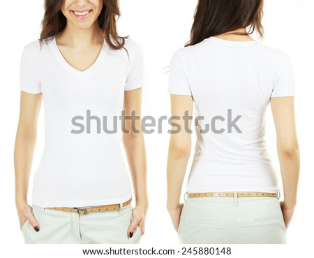 Young beautiful brunette woman in white shirt on white background - stock photo
