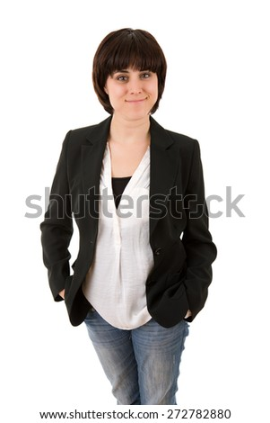 young beautiful business woman, isolated in white - stock photo