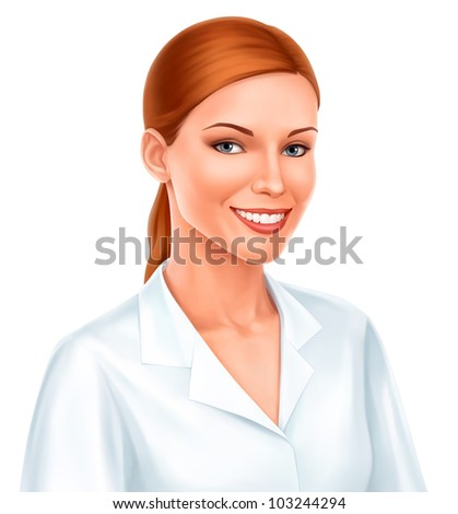 young beautiful business woman or doctor smiling in white shirt isolated on white - stock photo