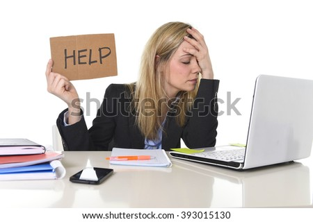young beautiful business woman suffering stress working at office computer desk asking for help feeling tired and desperate looking overworked covering face overwhelmed and frustrated - stock photo